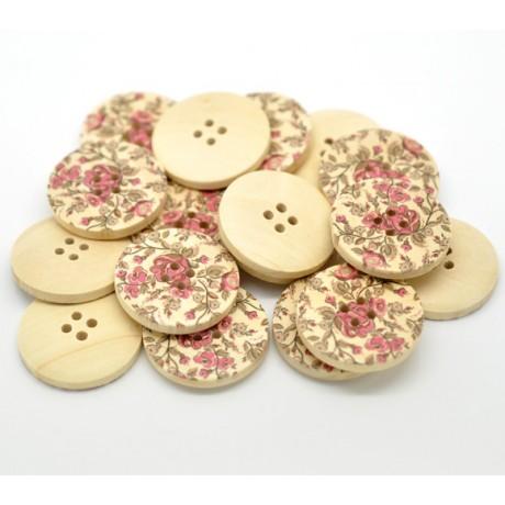 Botón de madera con flores