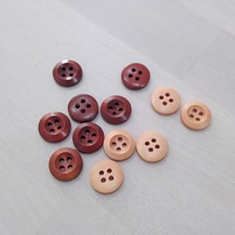 Botón madera brillo 4 agujeros 15mm