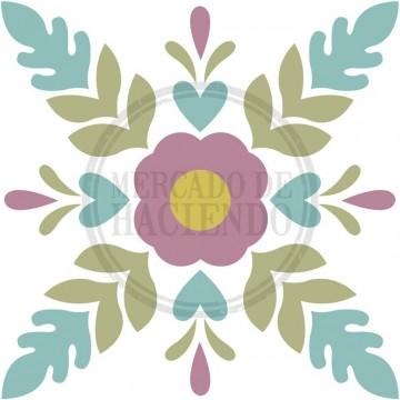 Tela estampada - Mod. Flor central 30x30cm
