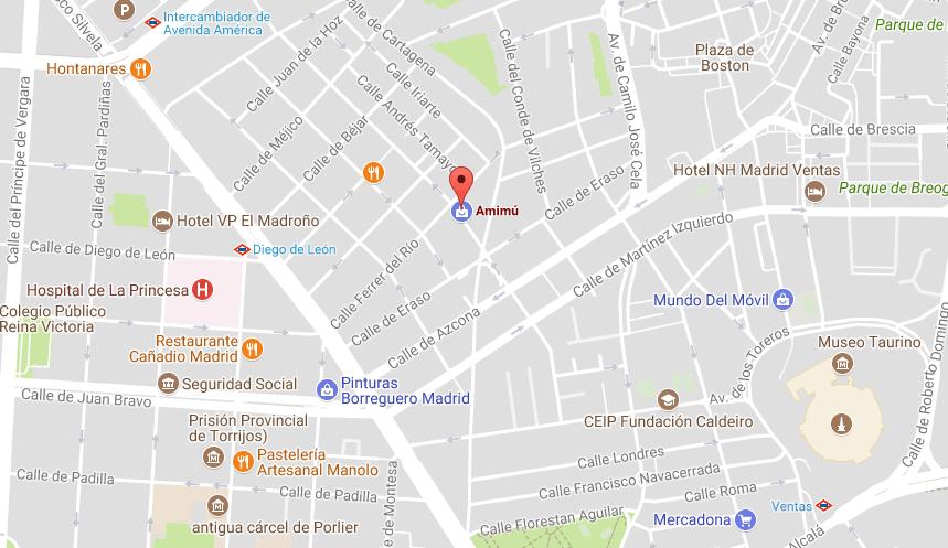 Mapa dirección tienda AMIMÚ